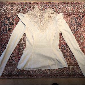 Free people lace/knit blouse
